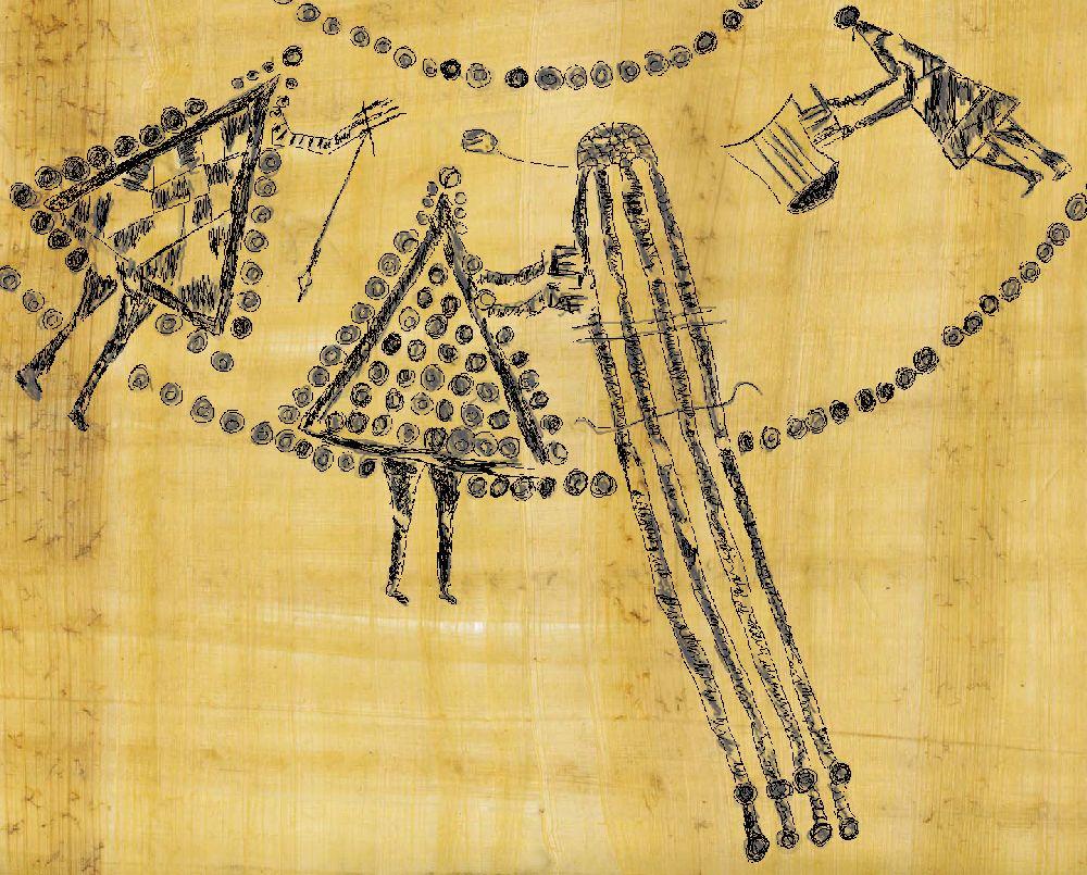 Eie umzeichnung auf Papyrus die Drei Personen zeit. Eine person Spinnt eine Oerson ebt, und eine Person spielt auf einer Lyra. Die Figuren sind mit vielen kleinen Kreisen die große dreiecke bilden Dargestllt, es handelt sich um eine Interpretation eienr Keramikkust aus Sopron in Ungarn.