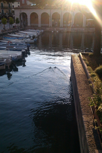Hafenbecken von der Brücke aus gesehen